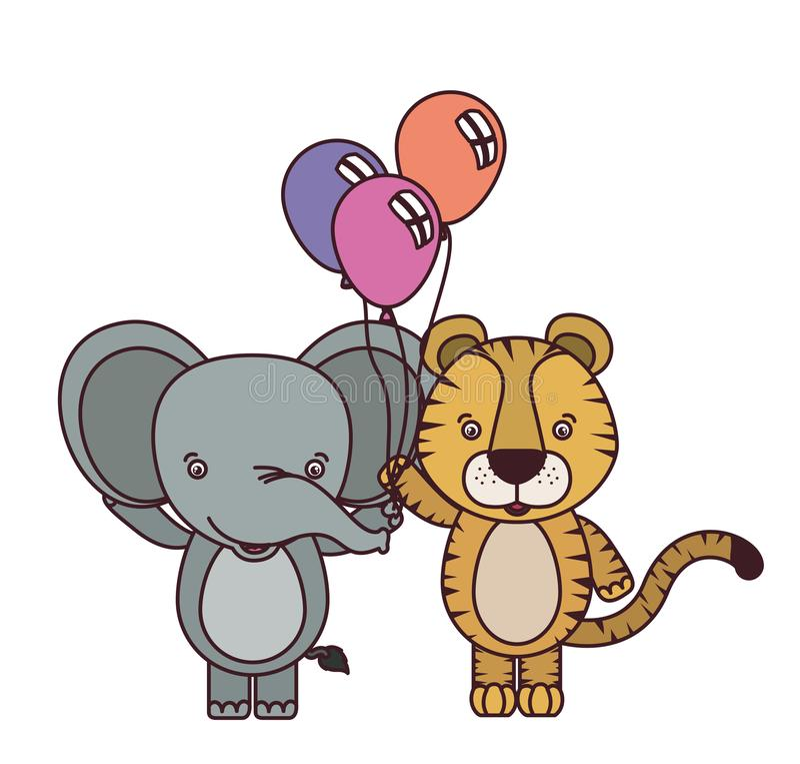 Animais bonitos com hélio dos balões ilustração do vetor