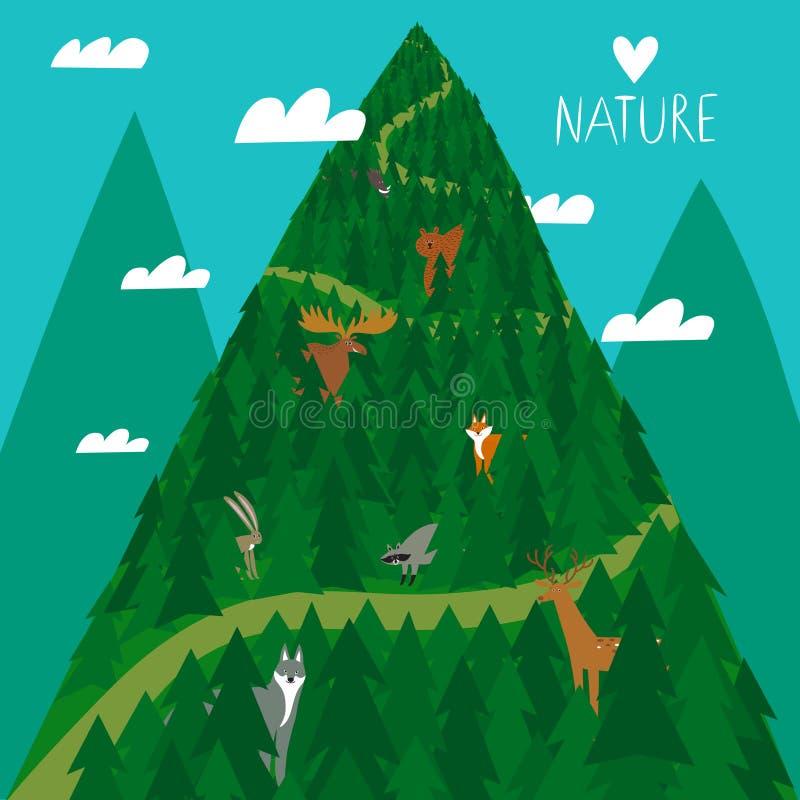 Animais bonitos da floresta na floresta ilustração do vetor
