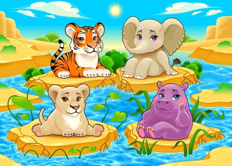 Animais bonitos da selva do bebê em uma paisagem natural ilustração royalty free