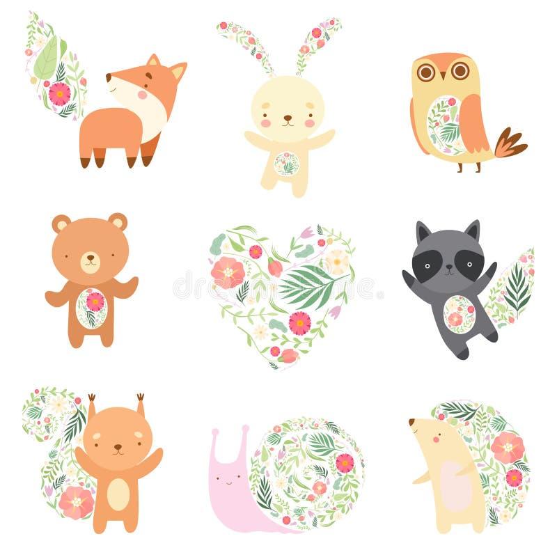 Animais bonitos decorados com grupo sem emenda floral do teste padrão, ilustração bonita de Forest Animals Cartoon Characters Vet ilustração do vetor