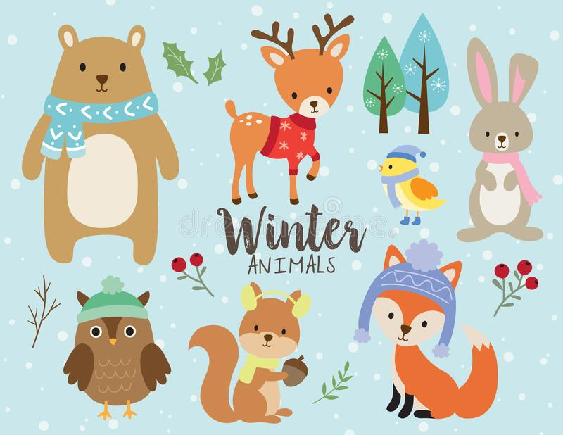 Animais bonitos do inverno com vetor do fundo da neve ilustração do vetor