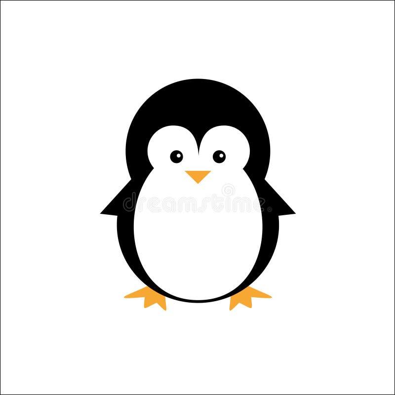 Animais bonitos do logotipo do ícone do pinguim da ilustração ilustração do vetor