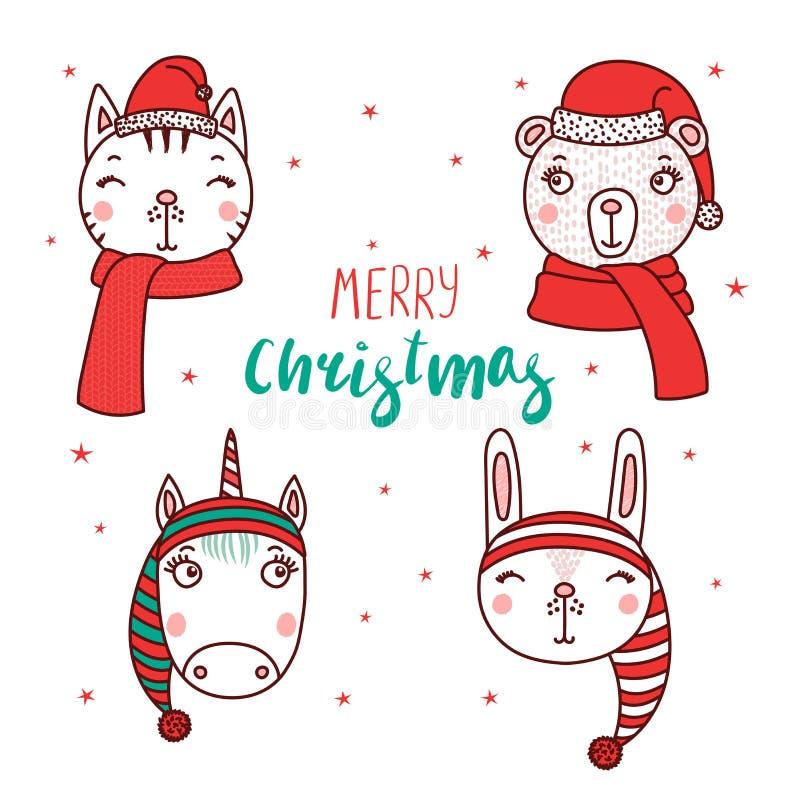 Animais bonitos em chapéus de Santa ilustração do vetor