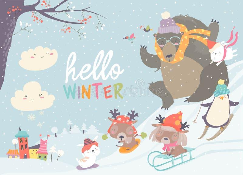 Animais bonitos felizes que jogam jogos do inverno Olá! inverno ilustração stock