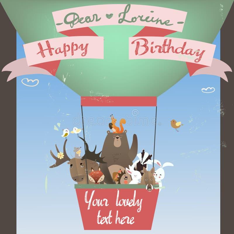 Animais bonitos no balão ilustração royalty free