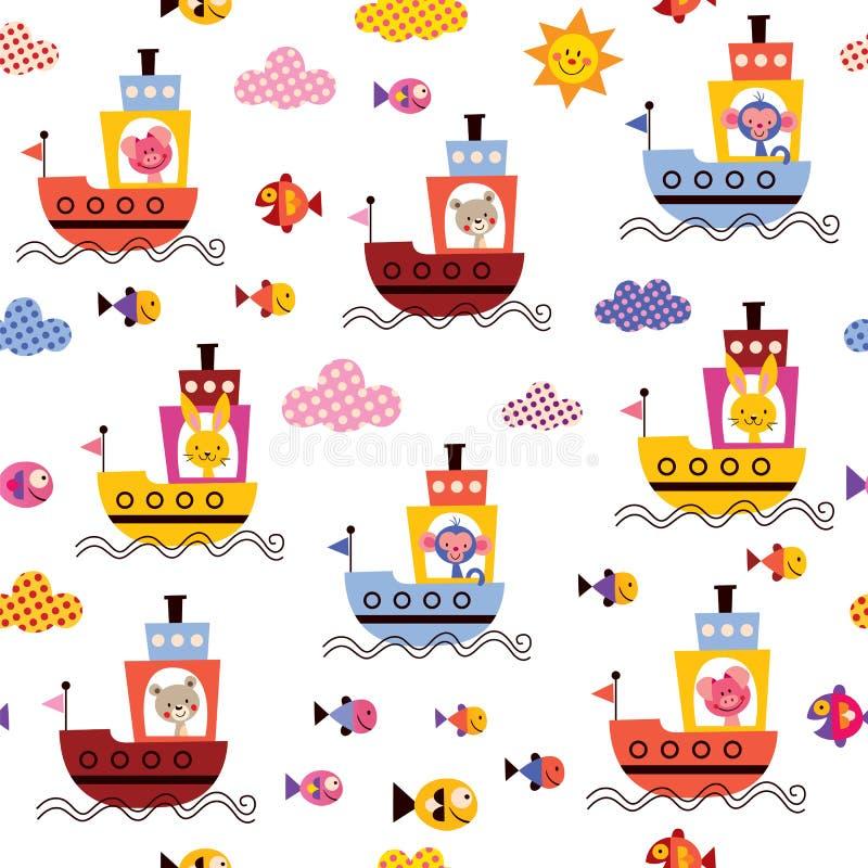 Animais bonitos no teste padrão do mar das crianças dos barcos ilustração royalty free
