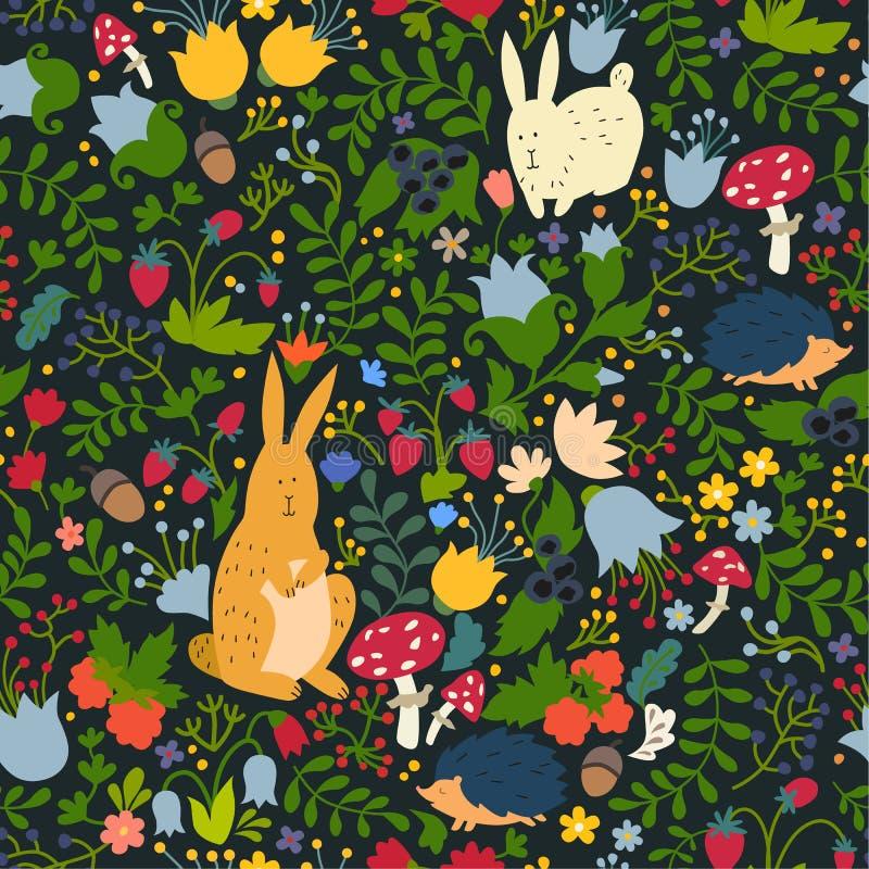 Animais bonitos no teste padrão sem emenda da floresta mágica Ilustrações do vetor do coelho e do ouriço para o bebê ilustração royalty free
