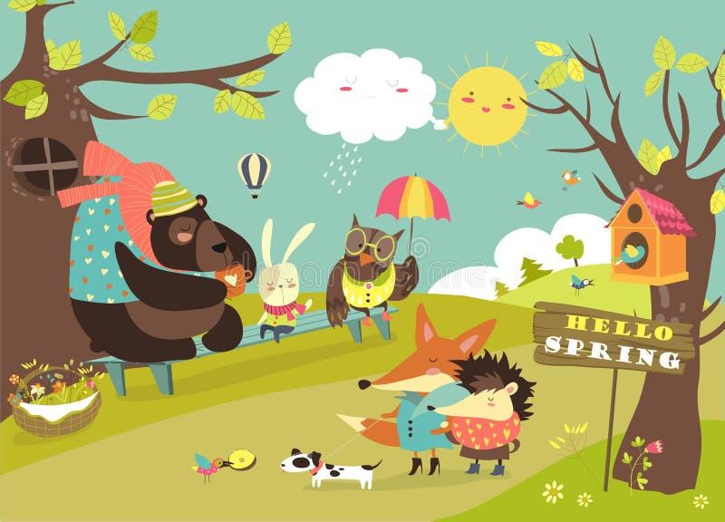 Animais bonitos que andam na floresta da mola ilustração do vetor