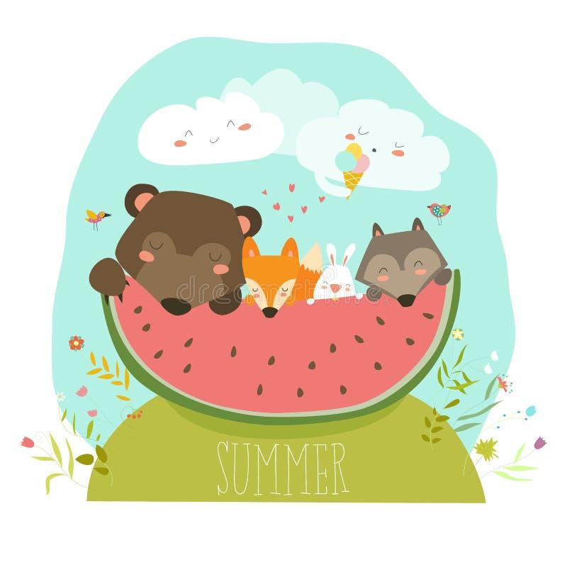 Animais bonitos que comem a fatia da melancia Olá! verão ilustração royalty free