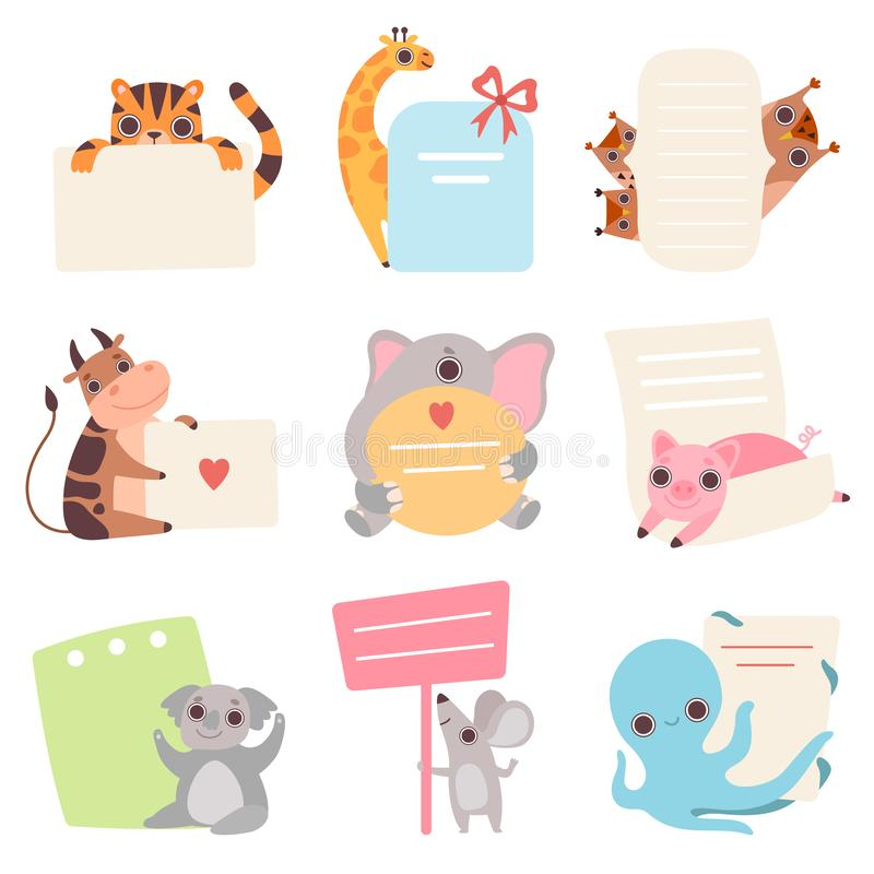Animais bonitos que guardam o grupo vazio das bandeiras, tigre engraçado dos desenhos animados, girafa, filhotes de coruja, vaca, ilustração do vetor