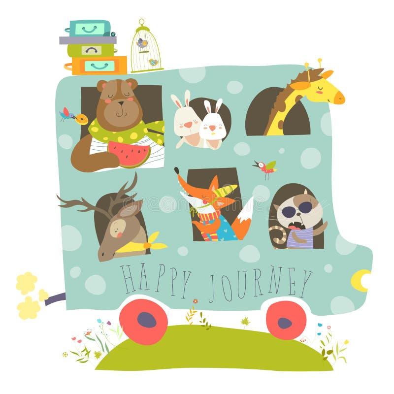 Animais bonitos que viajam pelo ônibus ilustração royalty free