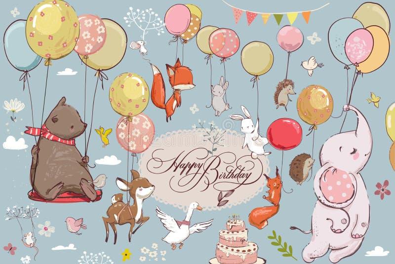 Animais bonitos que voam com balões ilustração stock