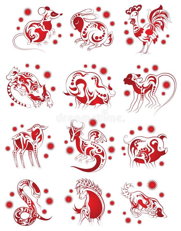 Animais chineses do horoscope ajustados ilustração do vetor