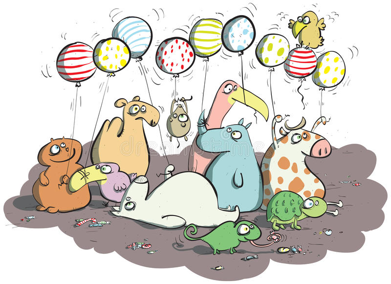 Animais com balões e doces ilustração royalty free