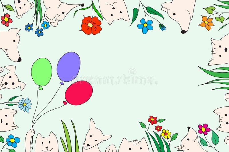 Animais com flores e balões Desenho do vetor, feito a mão imagens de stock royalty free
