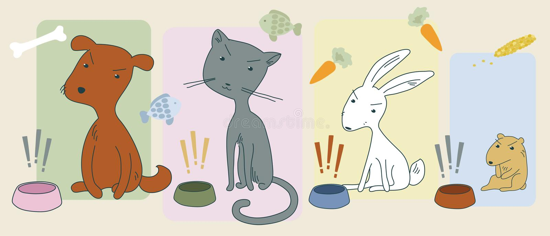 Animais com fome irritados ilustração stock