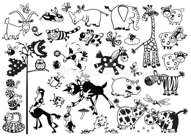 Animais criançolas monocromáticos ilustração stock