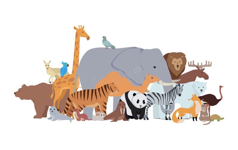 Animais da bandeira diferente das especiarias Cartaz do jardim zoológico ilustração do vetor