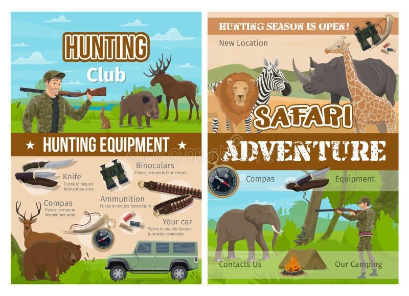 Animais da caça do safari, arma do caçador e equipamento ilustração stock