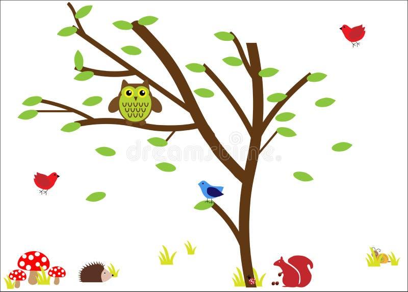 Animais da floresta/ícones da natureza ilustração stock