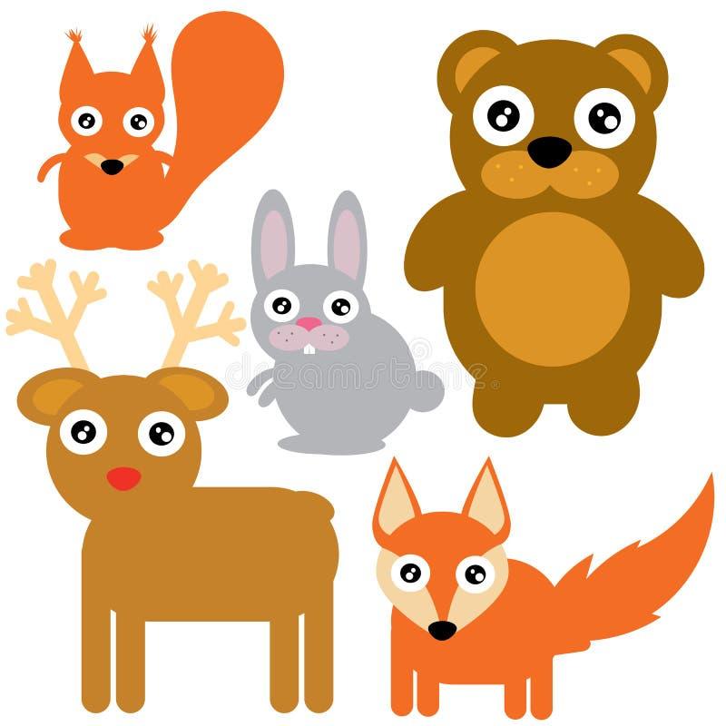 Animais da floresta ajustados ilustração do vetor