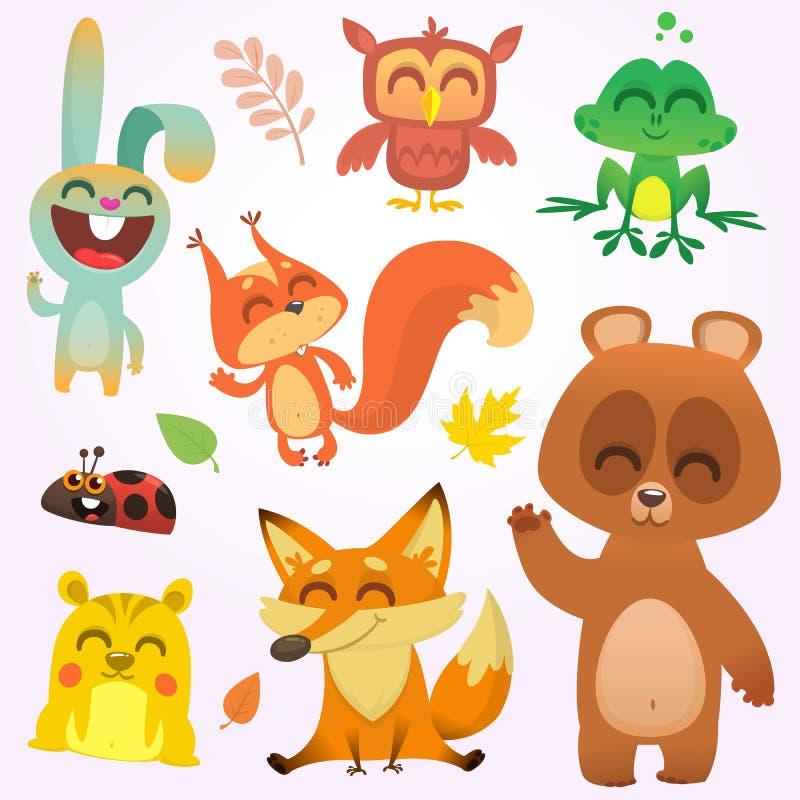 Animais da floresta dos desenhos animados Ilustração do vetor Esquilo, coruja, coelho de coelho, rã, esquilo, raposa, urso, joani ilustração royalty free