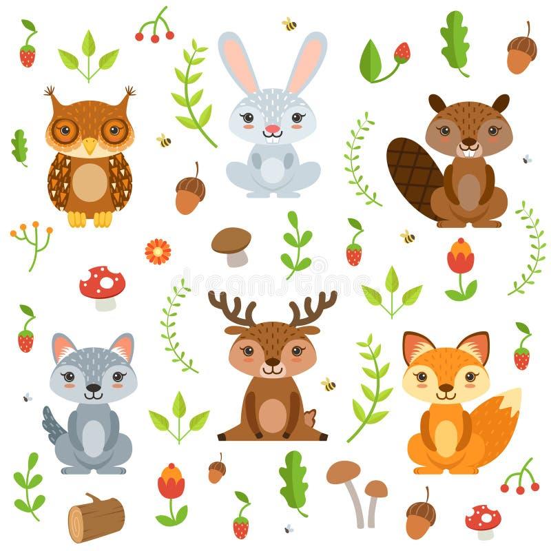 Animais da floresta no estilo dos desenhos animados Isolado ajustado caráteres do vetor no branco ilustração do vetor