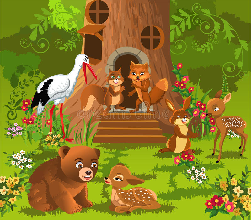 Animais da floresta que vivem na casa na árvore ilustração royalty free