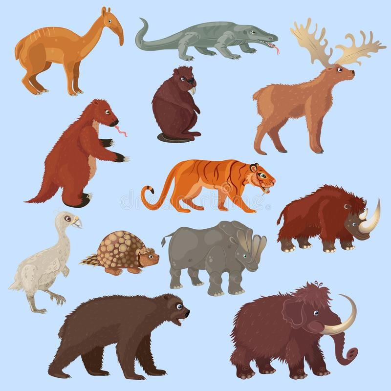 Animais da idade do gelo ajustados ilustração royalty free