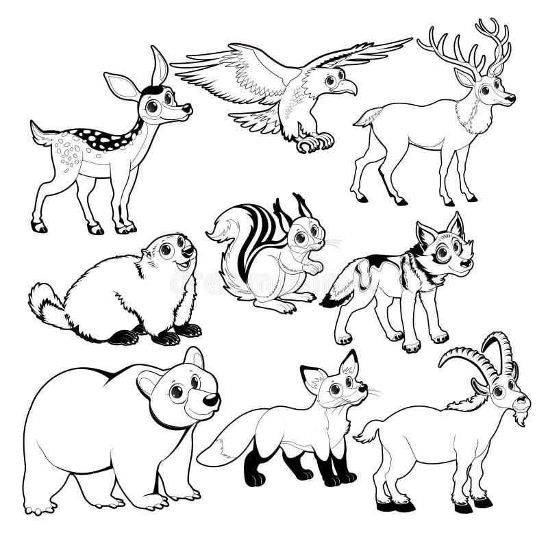 Animais da madeira e da montanha em preto e branco ilustração royalty free