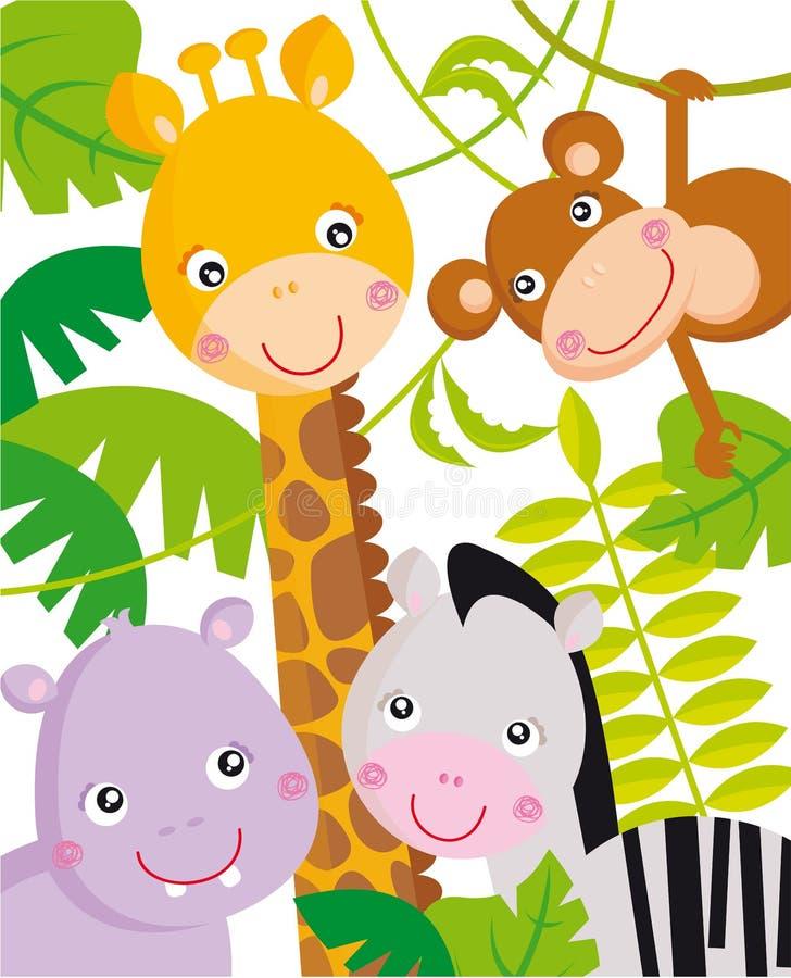 Animais da selva ilustração royalty free