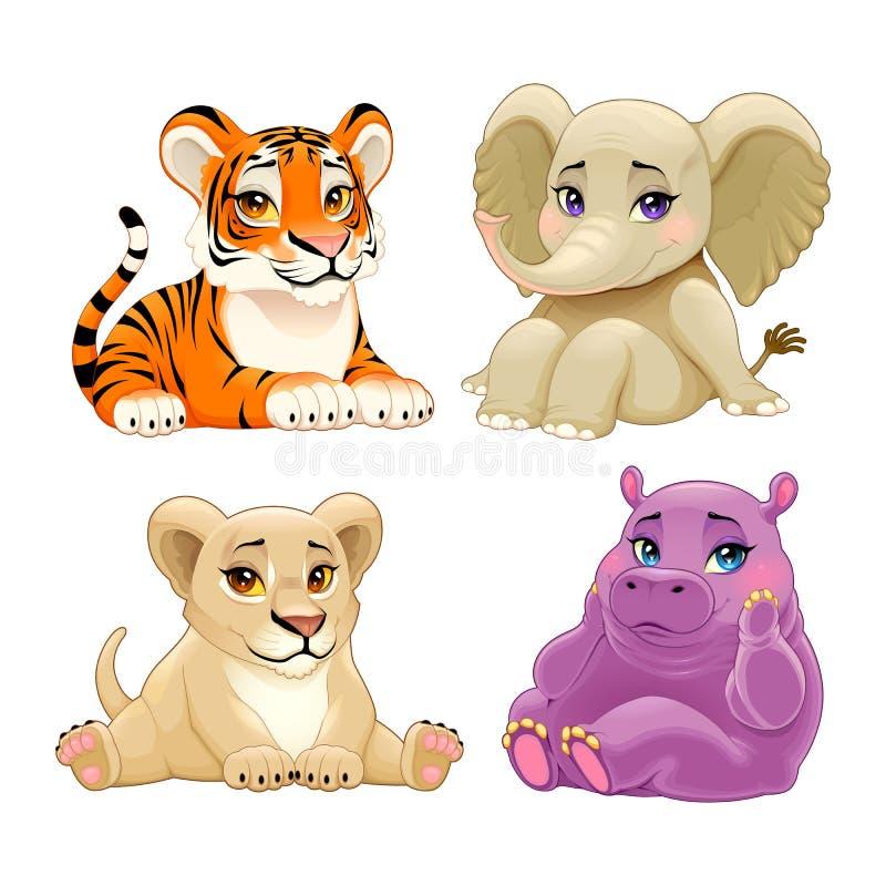 Animais da selva do bebê com olhos bonitos ilustração stock