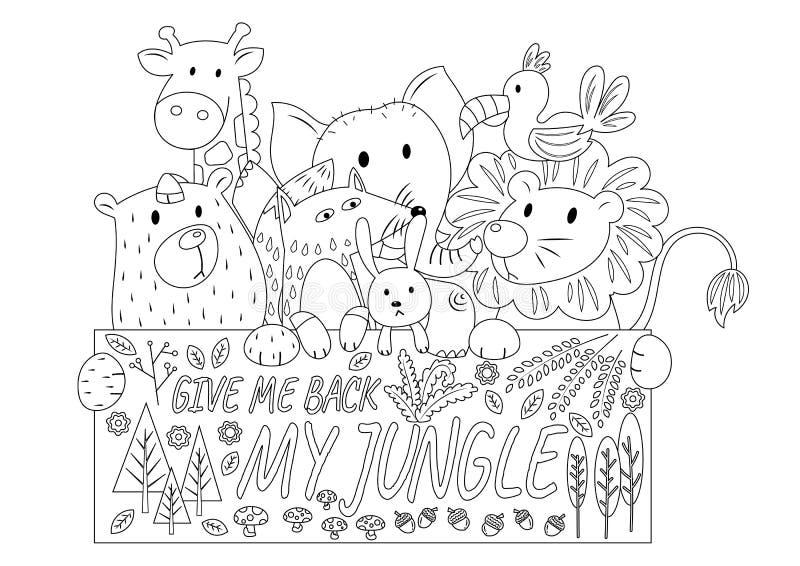 Animais da selva incolores ilustração royalty free