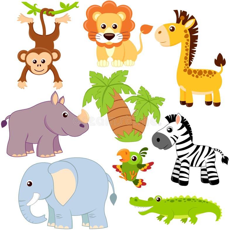 Animais da selva Leão, elefante, girafa, macaco, papagaio, crocodilo, zebra e rinoceronte ilustração do vetor