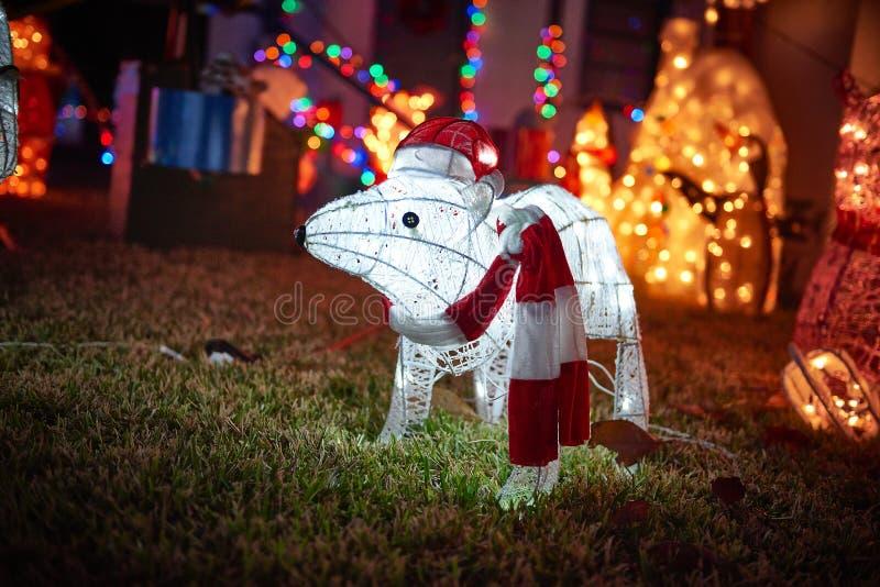 Animais das luzes do Feliz Natal fotos de stock royalty free