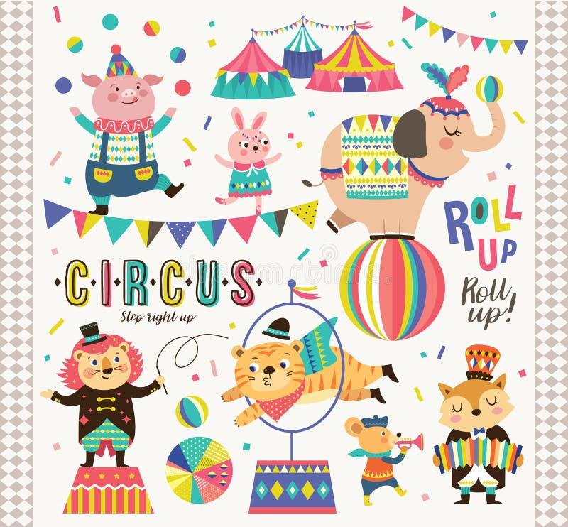 Animais de circo ilustração royalty free