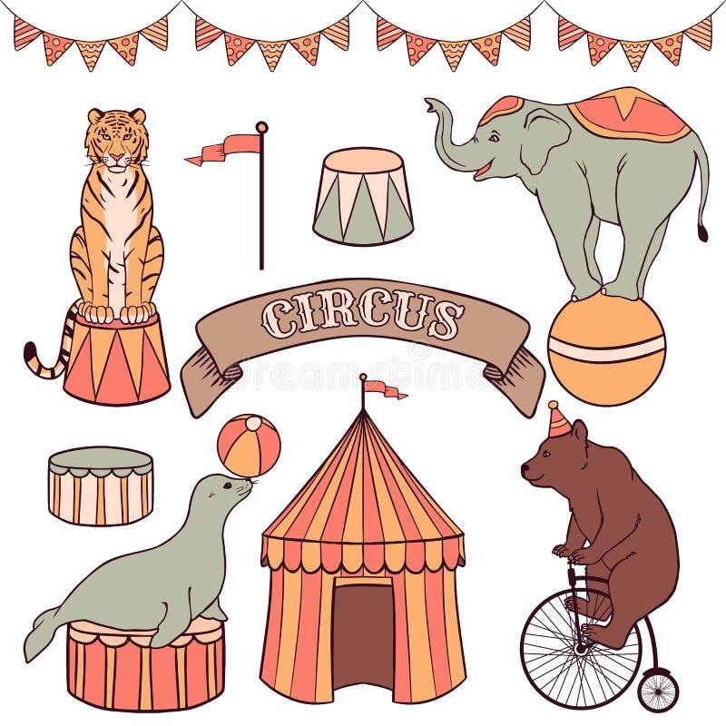 Animais de circo bonitos ajustados ilustração royalty free