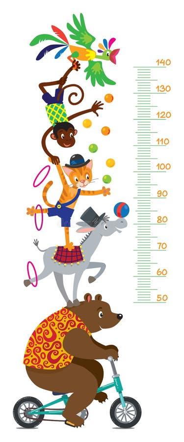Animais de circo engraçados Parede do medidor ou carta da altura ilustração stock