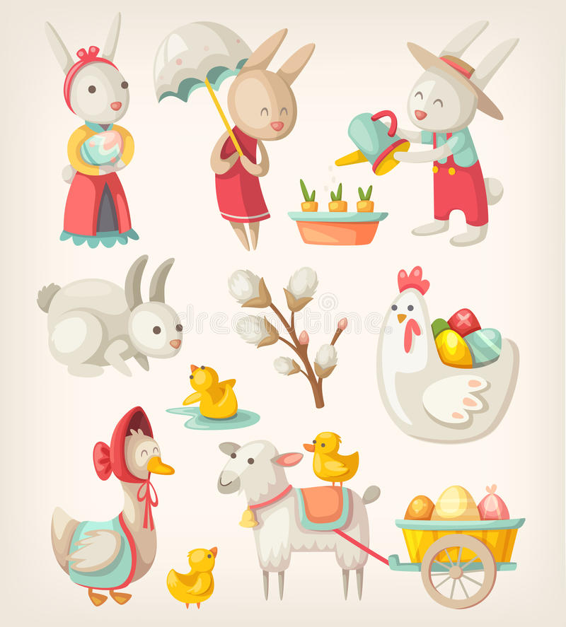 Animais de Easter ilustração royalty free