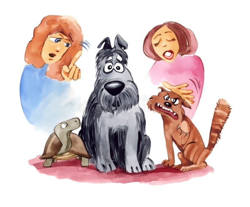 Animais de estimação: amizade por encomenda ilustração do vetor