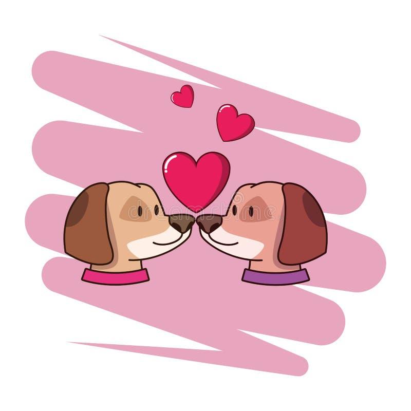 Animais de estimação bonitos dos cães no amor com corações ilustração do vetor