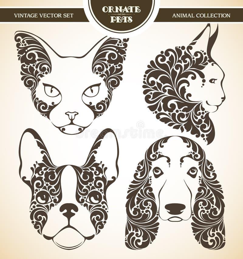 Animais de estimação decorativos decorativos ajustados do vetor ilustração royalty free