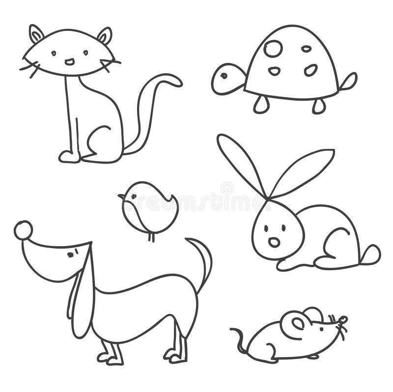 Animais de estimação desenhados mão dos desenhos animados ilustração do vetor