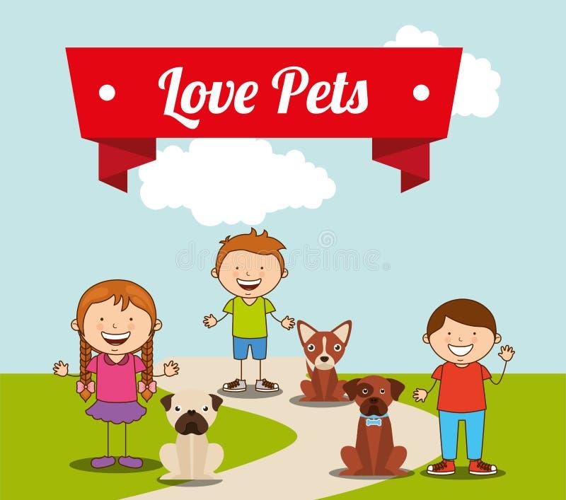 Animais de estimação do amor ilustração royalty free