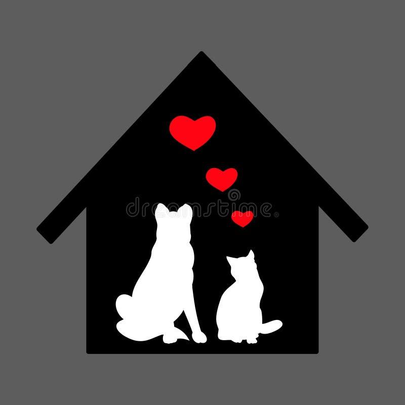 Animais de estimação em casa que esperam o proprietário ilustração stock