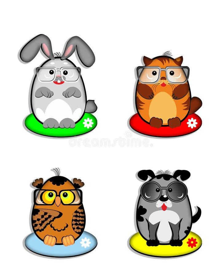 Animais de estimação engraçados, emoção, sorrisos, coelho, gato, vaquinha, cão, cachorrinho, coruja, espetáculo ilustração royalty free