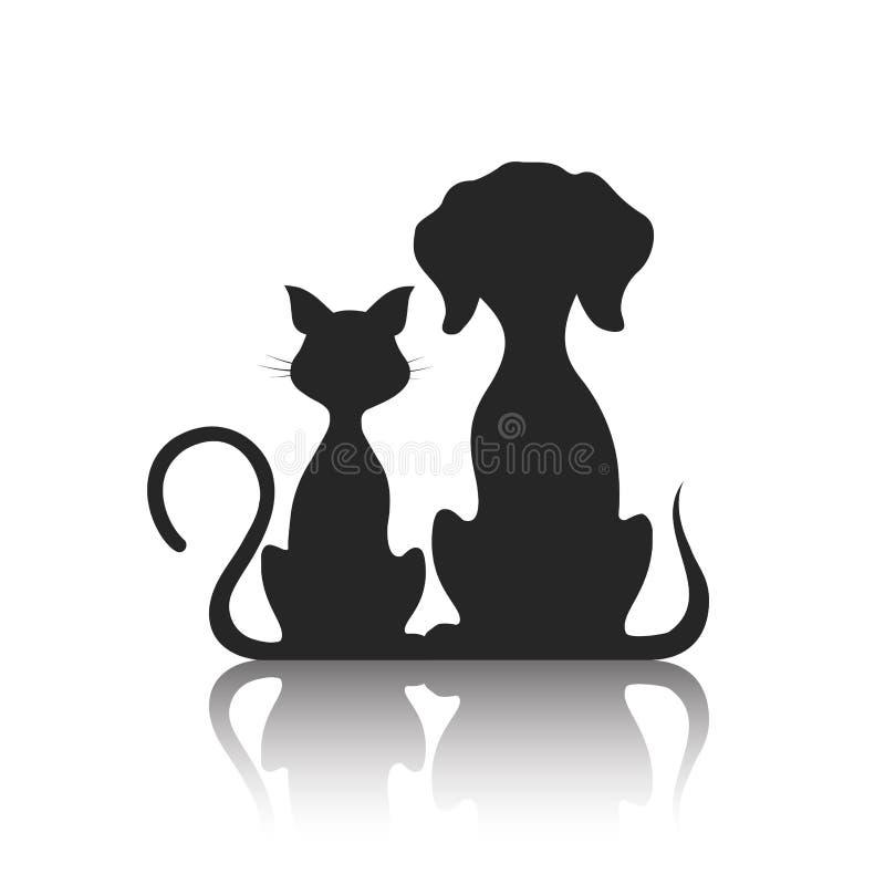 Animais de estimação gato e cão, ilustração ilustração royalty free