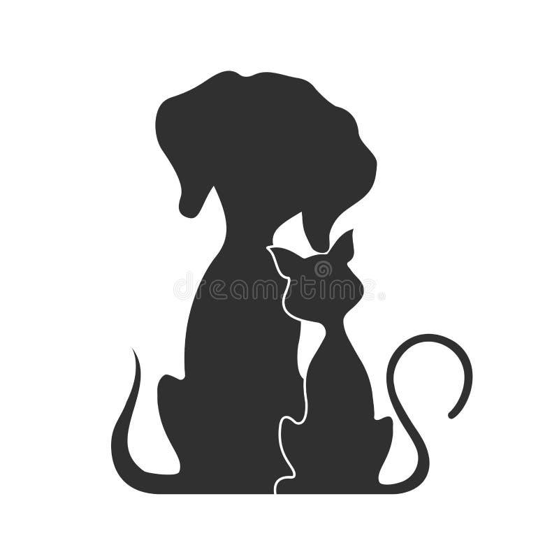 Animais de estimação gato e cão, ilustração do vetor ilustração do vetor