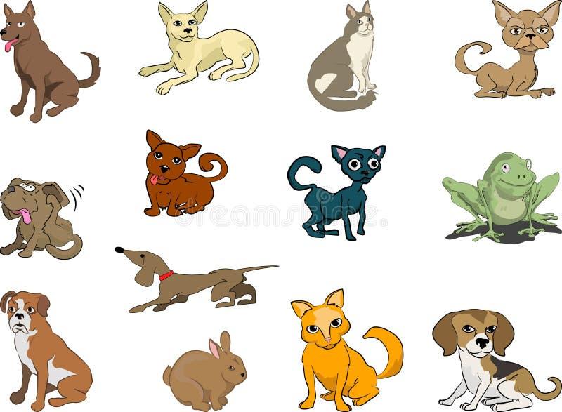 Animais de estimação, gatos e cães ilustração do vetor
