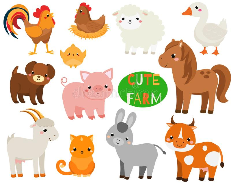Animais de exploração agrícola bonitos dos desenhos animados ajustados Porco, carneiros, cavalo e outras criaturas domésticas par ilustração do vetor